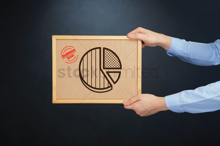 Cork board : Hands holding board with a pie chart