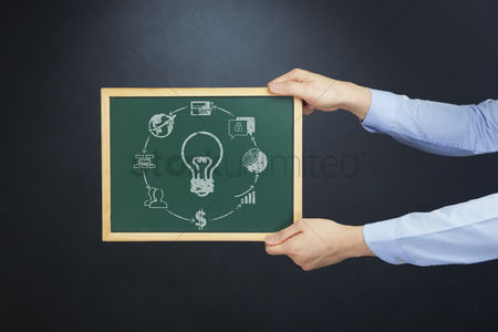 Handdrawn : Hands holding chalkboard with business idea concept