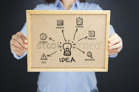Media : Hands holding cork board with business idea concept