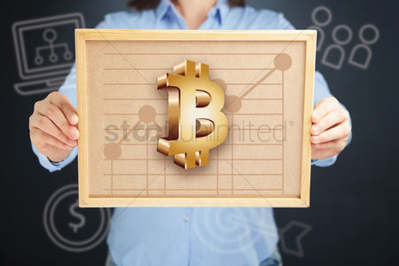 Client : Hands presenting bitcoin currency chart on cork board concept