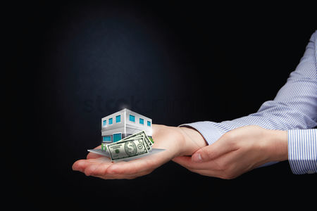 Dollar sign : Hands presenting property purchasing concept