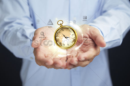 Alert : Hands presenting time management concept