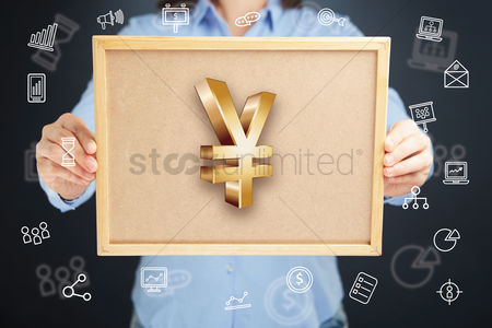 Cork board : Hands presenting yen currency symbol on cork board concept
