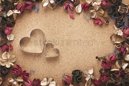 Blank : Heart shaped cookie cutter with dried flowers
