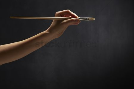 Paint brush : Human hand holding a paint brush