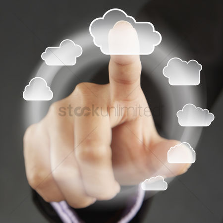 Selection : Index finger pointing at cloud symbols on a touch screen menu