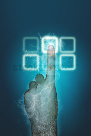 Pushing : Index finger using a touch screen keypad