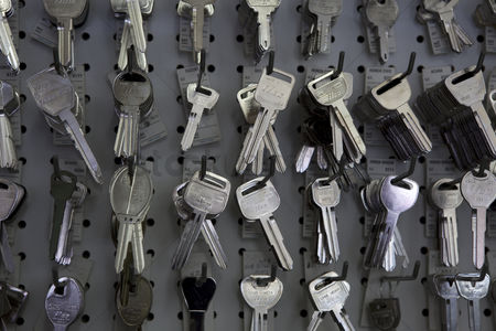 Variety : Keys hanging on hooks in store
