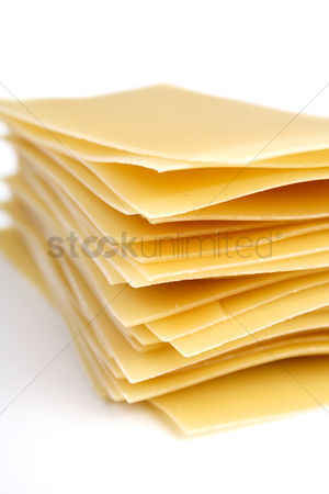 Collection : Lasagne raw pasta on white background