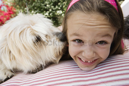 Domesticated animal : Little girl with her pet dog