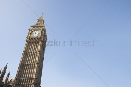 England : Low angle view of big ben against clear sky at london  england  uk