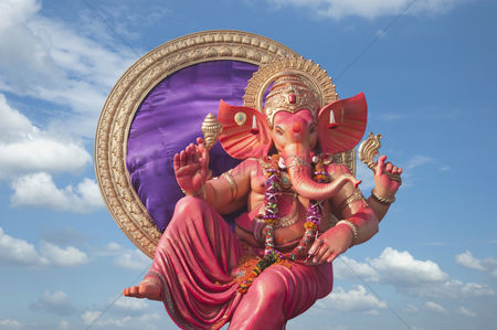 God : Low angle view of idol of lord ganesha  mumbai  maharashtra  india