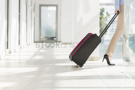 Occupation : Low section of businesswoman with luggage leaving airport