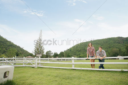 Affectionate : Man and woman at the ranch