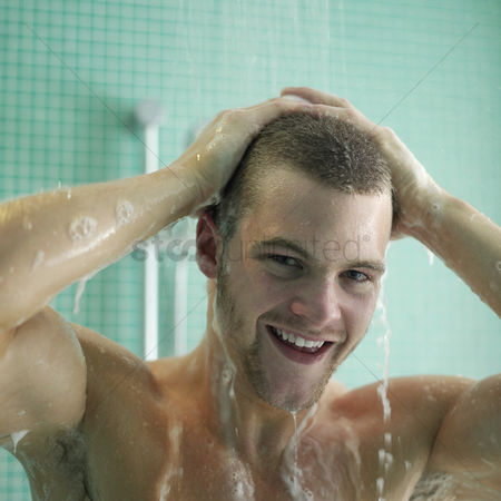Adulthood : Man enjoying his shower time