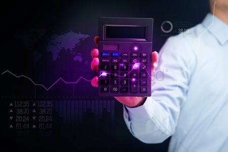 Count : Man holding calculator with financial concept