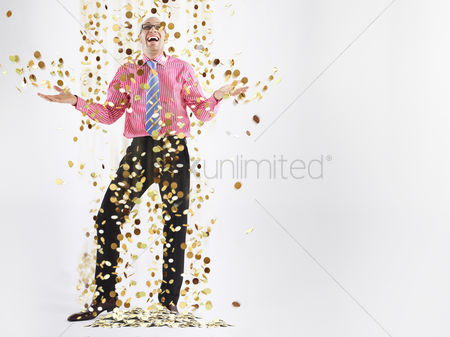 Pattern : Man in glasses laughing with gold coins falling to floor