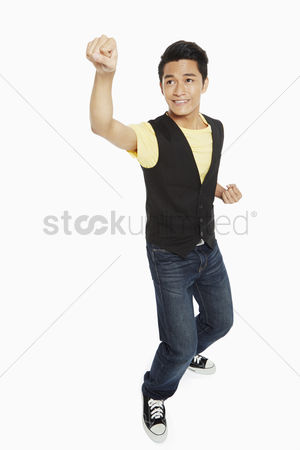Excited : Man showing a punching gesture