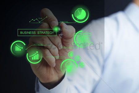 Finger : Man with business strategy concept