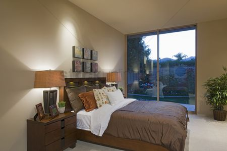 Houseplant : Matching bedside lamps in palm springs home interior