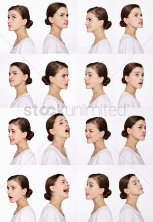 Relaxing : Montage of woman pulling different expressions