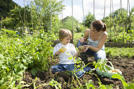 Pre teen : Mother gardening with son