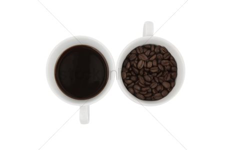 Strong : Mugs of coffee drink and beans