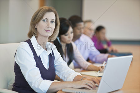 Interior : Multi racial group of business people working