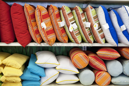 Supermarket : Multicolored cushions on display in store