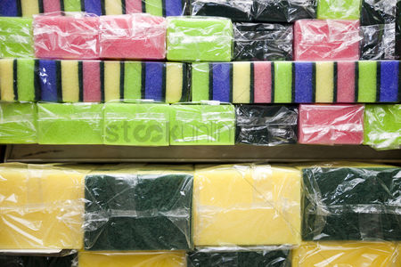 Supermarket : Multicolored sponges in grocery store