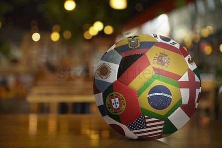 Hexagon : National flags on a soccer ball
