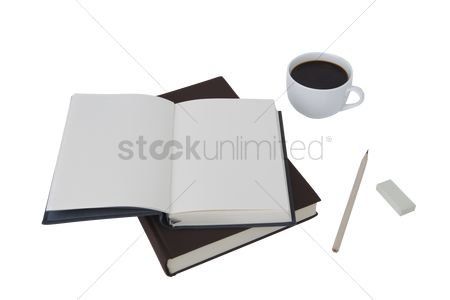Study : Notebooks with a coffee in a cup