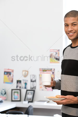 Interior : Office worker with coffee