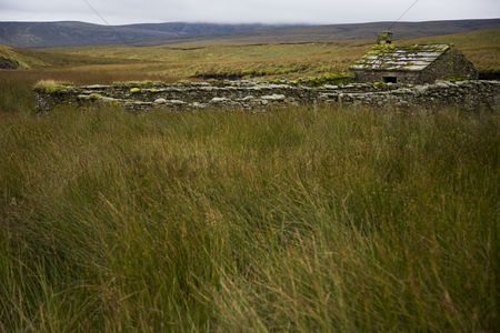 England : Old abandoned cottage in yorkshire dales yorkshire england