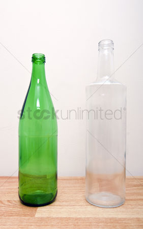 Wine bottle : One green glass bottle and one clear glass bottle