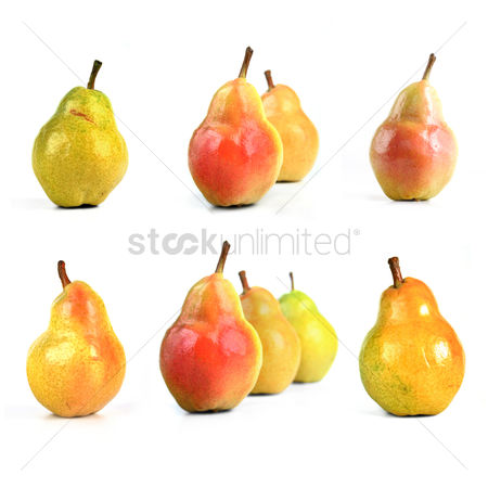Fruit : Pears on white background