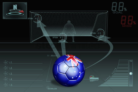 Nationality : Penalty kick infographic with australia soccer ball