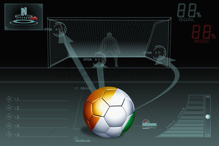 Nationality : Penalty kick infographic with ivory coast soccer ball