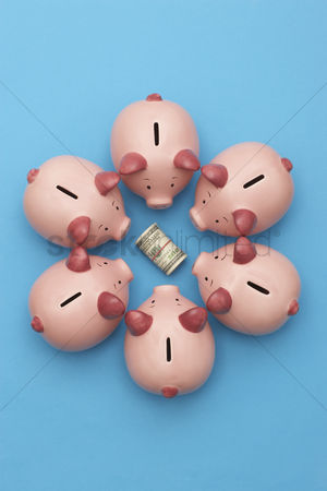 Pink : Piggy banks surrounding roll of dollar bills blue background view from above