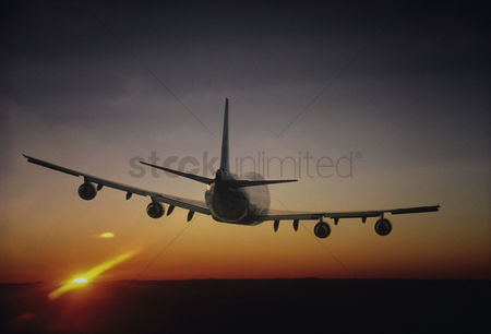 Transportation : Plane flying sun setting on horizon back view