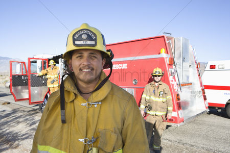 Truck : Portrait of a fire fighter