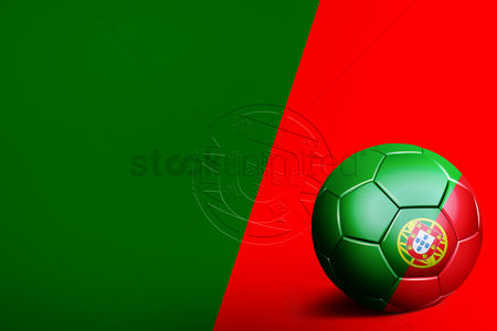 Flag : Portugal flag with soccer ball