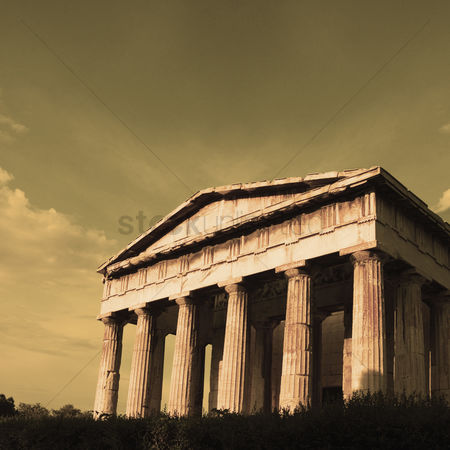 Moody : Ruins of an ancient temple  parthenon  acropolis  athens  greece