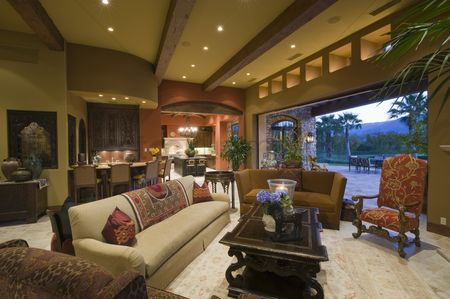 Decor : Seating area of palm springs living area