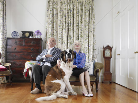 Retirement : Senior couple posing in living room with dog