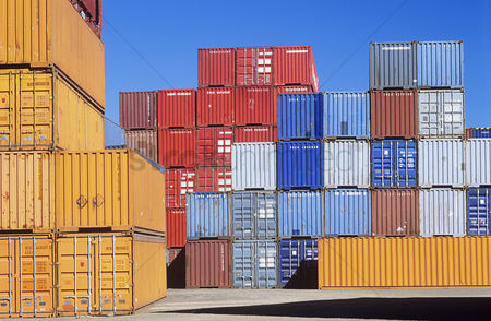 Transportation : Shipping containers in storage yard
