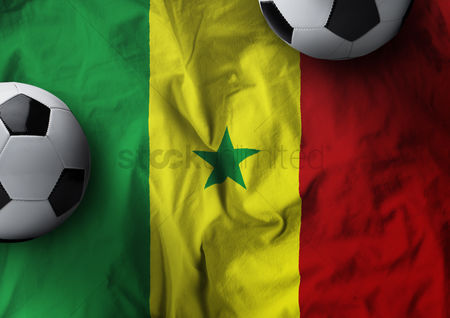 602e22d4683 2089527 Senegal   Soccer balls on senegal flag