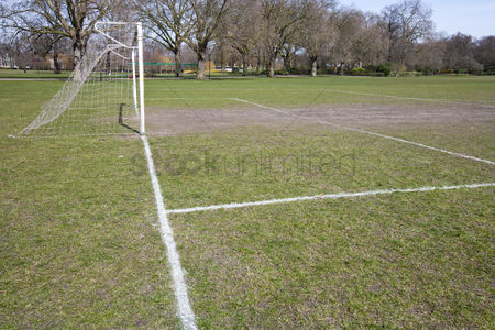 Pitch : Soccer goal in morning