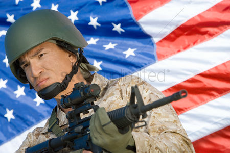 Flag : Soldier holding rifle in front of united states flag  portrait
