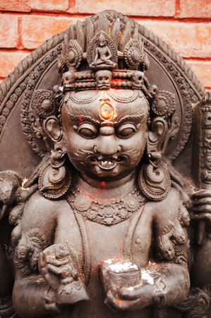God : Statue of hindu god in a temple  swayambhunath  kathmandu  nepal